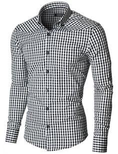 MODERNO Mens Slim Fit Checkered Shirt (MOD1458LS) Black/White. FREE worldwide shipping! 30 days return policy
