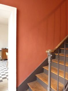 Great contrast between wall color and stairs. The lovely warm rich tones of Terre d'Egypte by Farrow & Ball Hallway Colours, Room Colors, Wall Colors, Hallway Decorating, Interior Decorating, Hallway Paint, Stairway Paint Ideas, Orange Is The New Black, Orange Orange