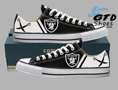 Hand Painted Converse Low Sneakers. Oakland Raiders. Raider nation. Football. Superbowl. Silver paint. Handpainted shoes. Genuine Touch Designs.