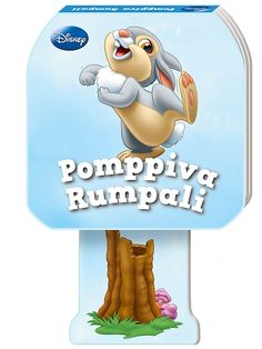 Puput, Pomppiva Rumpali -kirjassa on hauska pomppumekanismi! Lukekaa yhdessä sympaattinen tarina Rumpalista ja pomputtakaa kirjaa: kun kannon painaa alustaa vasten ja päästää irti, veikeä pupu singahtaa ilmaan. Smurfs, Disney, Fictional Characters, Fantasy Characters, Disney Art