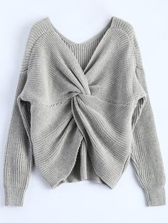V Neck Twisted Back Sweater - GRAY ONE SIZE