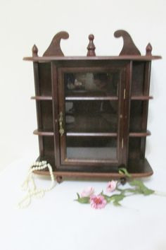 Wood Curio Cabinet with Glass Door by LuRuUniques on Etsy, $35.00