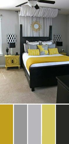 Black Yellow Bedroom Color SchemeGray Black Yellow Bedroom Color Scheme A little obsessed with the and look and I love this pillow Top 10 Bedroom Decorating Ideas Yellow And Gray Top 10 Bedroom Decorating Ideas Yellow And Gray Bedroom Minimalist, Modern Bedroom, Bedroom Decor, Master Bedrooms, Bedroom Ideas, Contemporary Bedroom, Bedroom Retreat, Bedroom Curtains, Bedroom Plants