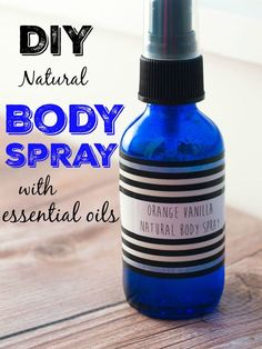DIY Body Spray with essential oils--Two recipes including this one for Orange Vanilla Body Spray. Such a delicious scent!