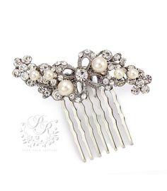 Wedding Hair Comb Swarovski Pearl Rhinestone by PureRainDesigns, $18.00