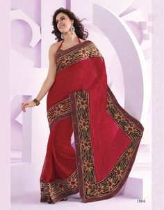 Ashika Red Chiffon Saree 1804