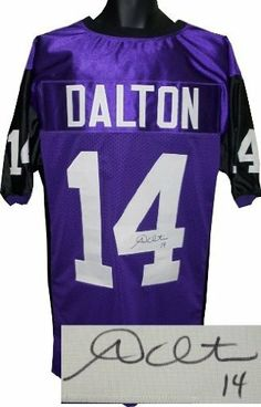 Andy Dalton Autographed/Hand Signed TCU Horned Frogs Purple Custom Jersey- Dalton Hologram by Hall of Fame Memorabilia. $224.95. On September 4 2010 Andy Dalton recorded his 30th victory as the Horned Frogs starting quarterback passing Sammy Baugh as TCU's all-time win leader. Against Baylor Dalton completed 21 of 23 pass attempts for 267 yards and two touchdowns and was named the Mountain West Offensive Player of the Week. On January 1 2011 Dalton who completed 1...