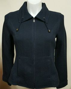Christopher & Banks Women's Zip Up Jacket Blue Textured Size Medium M EUC #ChristopherBanks #BasicJacket