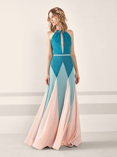 Cocktail dress with halter and geometric design JALISE | Pronovias