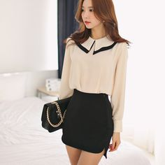 2014 Spring and Autumn new retro ladies hit color doll collar loose long-sleeved chiffon shirt lantern blouses