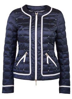 Veste matelassée bleu marine/blanc Elégance de la Boutique Elegance Paris prix 219,00 € TTC.