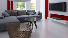 Explore Dutch Boy room color combinations - White: Ultra White, Poppied Red, and Refined Gray Boys Room Colors, Room Color Combination, Living Room Paint, Boy Room, Living Room Designs, Room Decor, Wall Decor, Family Room, Interior Design