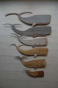 Perfect material to use :-) Whale artworks made from pieces of old boat