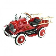 Dexton Deluxe Fire Truck Roadster Pedal Car - Red - DX-20233