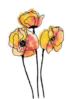 Ink Drawing Poppy Trio 869 - Coordinating Die Cut below. Watercolor Poppies, Watercolor And Ink, Watercolor Paintings, Simple Watercolor, Watercolor Landscape, Abstract Watercolor, Tattoo Watercolor, Watercolor Animals, Watercolor Techniques
