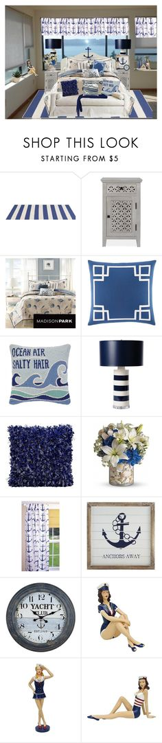 """Feelin' Beachy"" by kathleensmith-i ❤ liked on Polyvore featuring interior, interiors, interior design, home, home decor, interior decorating, Oakley, Madison Park, Nautica and Peking Handicraft"