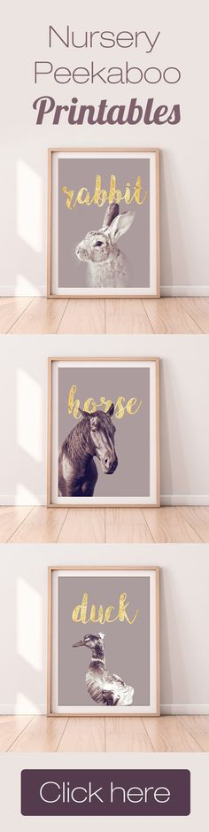 Rabbit Horse Duck Print Nursery Peekaboo Animal Art Design Baby Kids Room Interior Wall Decor Printable Photo Instant Large Poster Download Gold Text, perfect for bedroom and kids room!