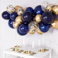 Balloon Arch Diy Discover Kit de guirnalda de globos de oro y Marina-DYI 55 juego de piezas Navy and Gold Balloon Garland Kit DYI 55 piece set Balloon Clouds, Clear Balloons, Gold Confetti Balloons, Blue Balloons, Balloon Garland, Bubblegum Balloons, Balloon Arch, Latex Balloons, The Balloon