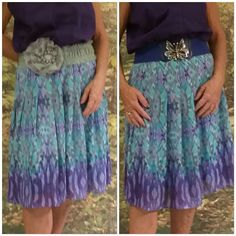 Purple turquoise tan watercolor lined skirt  sz 12 Purple turquoise tan watercolor fully lined in turquoise color, pintuck drop waist, side zipper 100% polyester,  hem is at knee, feminine flirty movement full of happy color, lots of options for pairing tops and style Jones New York Skirts