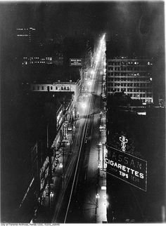 Yonge Street north from King Street at night, Toronto, January Canada Eh, Toronto Canada, Fresco, Yonge Street, Canadian History, Milwaukee Wisconsin, Street Photography, Stunning Photography, Old Photos
