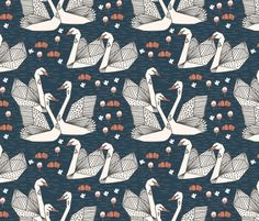 Swans in the Lily Pond - Parisian Blue/Champagne by Andrea Lauren - andrea_lauren - Spoonflower
