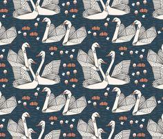 swans // lily pond swans geo dark blue navy blue swan bird girls sweet fabric by andrea_lauren on Spoonflower - custom fabric Textiles, Textile Patterns, Swan Nursery Decor, Origami Swan, Andrea Lauren, Macbook Sleeve, Spoonflower Fabric, Pretty Patterns, Illustrations