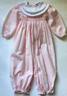 316251446 Carriage Boutiques Baby Girl 18M Pink Smocked Longall Romper One-Piece  Easter