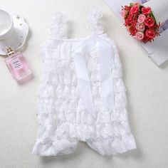 7f96fdc53265 Cute Kids Baby White Lace Romper Summer Infant Girls Photography Props  Pettidresskily Baby Ruffle Romper