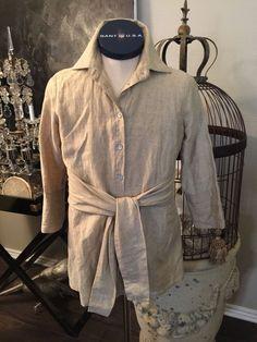 4daf6ba583b59 FARINAZ TAGHAVI ~ Italian linen Blend Button Front shirt blouse Oatmeal ~  Sz 10
