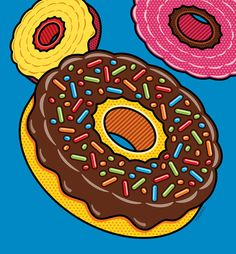 Doughnuts On Blue Digital Art by Ron Magnes