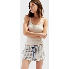 Solid & Striped The Tracy Piped Short (155 AUD) ❤ liked on Polyvore featuring shorts, tailored, striped shorts, tailored shorts, cotton shorts, relaxed fit shorts and drawstring shorts