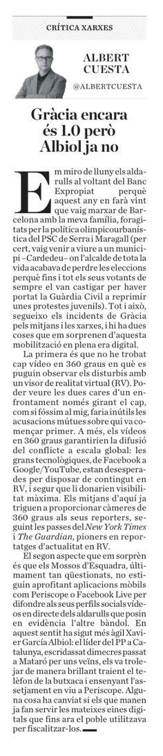 Gràcia encara és 1.0; Albiol ja no. #diariara #bancexpropiat