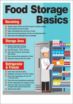 A food safety poster featuring safety tips on receiving food items, how to store properly, and how to keep the items in refrigerator or freezer. Food Safety Training, Food Safety Tips, Food Tips, Anchor Charts, Food Safety And Sanitation, Food Shelf Life, Food Truck Business, Farm Business, Food Handling