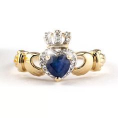 Gold Sapphire & Diamond Claddagh Ring, Made in Ireland Diamond Gemstone, Sapphire Diamond, Gemstone Jewelry, Jewelry Rings, Diamond Choker, Jewelry Box, Jewellery, Diamond Claddagh Ring, Claddagh Rings