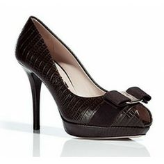 Salvatore Ferragamo The Gilia Dark Brown Peep Toe Platform Pumps