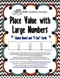 10 best big numbers images on pinterest math place value school heres a set of materials for working on place value with big numbers includes a fandeluxe Image collections