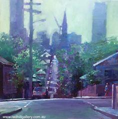 David Hinchliffe 'Crossroads at Union Street, Spring Hill' 61x61cm. 61 Musgrave Road, Red Hill Brisbane, QLD, Australia. art@redhillgallery.com.au