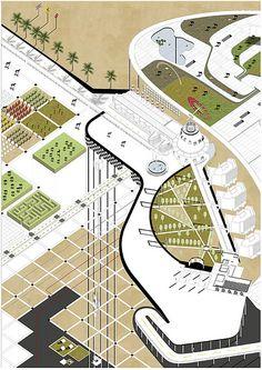 Landscape And Urbanism, Landscape Concept, Architecture Graphics, Architecture Drawings, Rendering Drawing, Presentation Techniques, Portfolio Examples, Concept Diagram, Classic Architecture