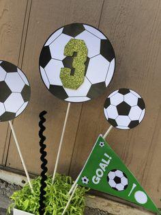 Centro de mesa tema fiesta cumpleaños de fútbol