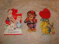 Vintage 1920's Mechanical Valentines Day Cards Germany-Katz-Monkey-Clown-Kids