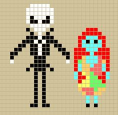Jack Skellington and Sally from Nightmare Before Christmas perler bead patterns designed by Rosealine_Black