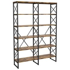 IRONCK Industrial Bookshelf Double Wide Open Large Bookcase, Wood and Metal Bookshelves for Home Office, Easy Assembly, Vintage Brown Vintage Bookcase, Large Bookcase, Open Bookcase, Etagere Bookcase, Large Shelves, Bookcase Shelves, Bookcases, Industrial Bookshelf, Industrial Style