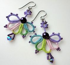 Crochet earrings. Is this crochet tatting technique? I'm grooving on the color changes.