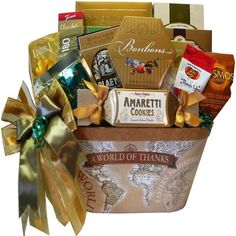 "A gift designed to show your appreciation with flare and gourmet flavor. The gift container says it all with ""A World of Thanks"" imprinted on a charming ol Art of Appreciation Gift Baskets A World of Thanks Gourmet Food and Snacks"
