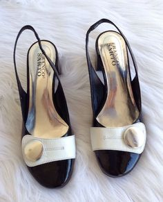 838f399c784657 Franco Sarto Black White Leather Button Low Heels Pumps Shoes Slip on 7 1 2