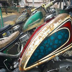 Heavy used true survivor custom painting on Harley Davidson choppers Panhead Shovelhead