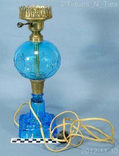 Boston Sandwich Glass Blue Whale Oil Lamp Converted Star Circle Pattern  (FF)