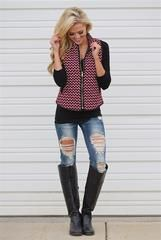 Aim To Please Chevron Quilted Puffer Vest - Pink - Medium