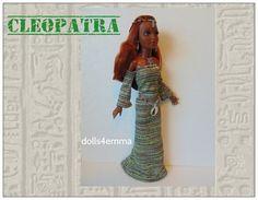 Tiffany Taylor Doll kleding - CLEOPATRA Egyptische Gown, godin kat Belt, ketting & hoofdtooi - handgemaakte mode - door dolls4emma