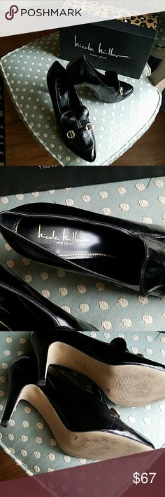Nicole Miller High Heel Loafers Like new, worn only once, no scuffs or signs of wear inside or out, beautiful black leather loafers. Nicole Miller Shoes Heels
